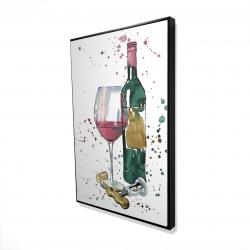Framed 24 x 36 - 3D - Bottle of red wine
