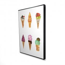 Framed 24 x 36 - 3D - Ice cream cones