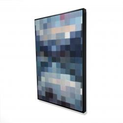 Framed 24 x 36 - 3D - Pixelated mountainous landscape