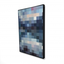 Framed 24 x 36 - 3D - Pixelated mountainous landscape