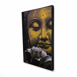 Framed 24 x 36 - 3D - The eternal smile of buddha and his lotus