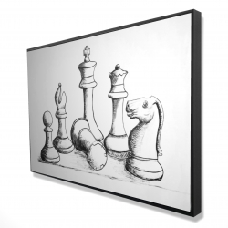 Framed 24 x 36 - 3D - Chess game pieces