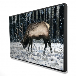 Framed 24 x 36 - 3D - Caribou in the winter forest