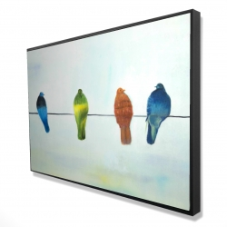Framed 24 x 36 - 3D - Perched abstract birds
