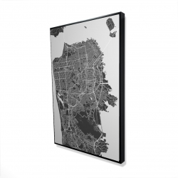 Framed 24 x 36 - 3D - San francisco city plan