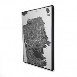 Framed 24 x 36 - 3D - San francisco city plan