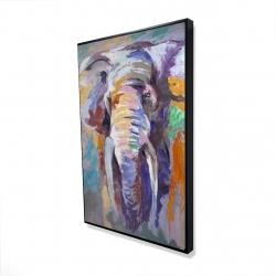 Framed 24 x 36 - 3D - Elephant in pastel color