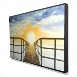 Framed 24 x 36 - 3D - Sunset in the sea