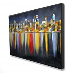 Encadré 24 x 36 - 3D - Réflexion colorée d'un paysage urbain de nuit