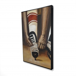 Framed 24 x 36 - 3D - Hockey player ties his skates