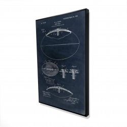Framed 24 x 36 - 3D - Blue blueprint of a foot ball