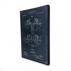 Framed 24 x 36 - 3D - Football protective apparel blueprint in blue