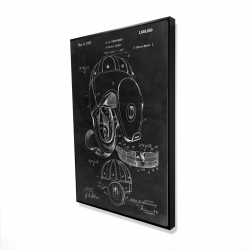 Framed 24 x 36 - 3D - Black blueprint of a football helmet