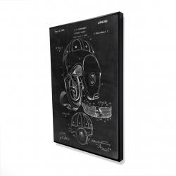 Framed 24 x 36 - 3D - Black blueprint of a football helmet