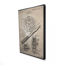 Framed 24 x 36 - 3D - Beige blueprint of a fishing reel