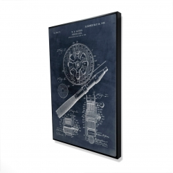 Framed 24 x 36 - 3D - Blueprint of a fishing reel