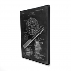 Framed 24 x 36 - 3D - Black blueprint of a fishing reel