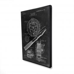 Framed 24 x 36 - 3D - Black blueprint of a fishing reel