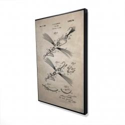 Framed 24 x 36 - 3D - Beige blueprint of a fish lure