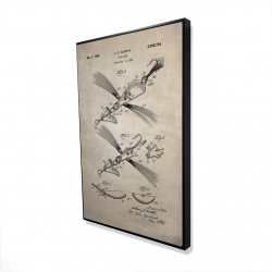 Framed 24 x 36 - 3D - Beige blueprint of a fish lure