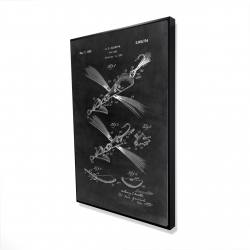Framed 24 x 36 - 3D - Black blueprint of a fish lure