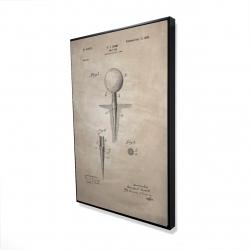 Framed 24 x 36 - 3D - Beige blueprint of golf tee