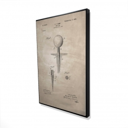 Framed 24 x 36 - 3D - Beige blueprint of golf tee