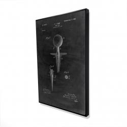 Framed 24 x 36 - 3D - Black blueprint of golf tee
