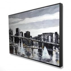 Framed 24 x 36 - 3D - Brooklyn bridge with sailboats