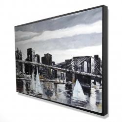 Framed 24 x 36 - 3D - Brooklyn bridge with sailboats