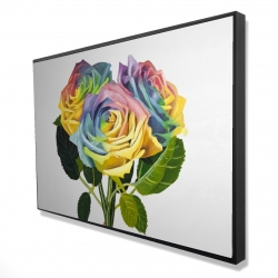 Framed 24 x 36 - 3D - Bouquet of rainbow roses