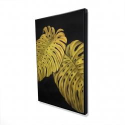 Encadré 24 x 36 - 3D - Feuille monstera doré