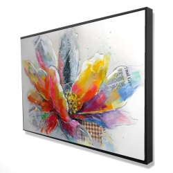 Framed 24 x 36 - 3D - Abstract flower with texture