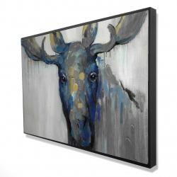 Framed 24 x 36 - 3D - Blue moose
