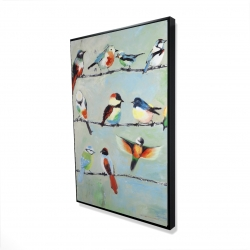 Framed 24 x 36 - 3D - Small abstract colorful birds