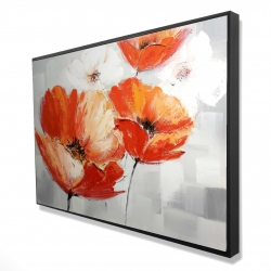 Framed 24 x 36 - 3D - Red wild flowers in the wind