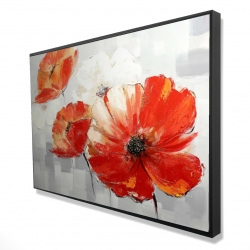 Framed 24 x 36 - 3D - Abstract red wild flowers