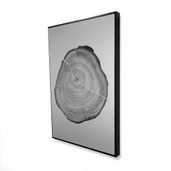 Framed 24 x 36 - 3D - Grayscale oval shaped tree slab