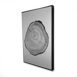 Framed 24 x 36 - 3D - Grayscale wood log