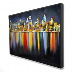 Framed 24 x 36 - 3D - Colorful reflection of a cityscape by night