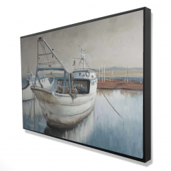 Framed 24 x 36 - 3D - Fishing boat desatured