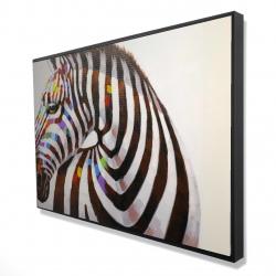 Framed 24 x 36 - 3D - Colorful zebra