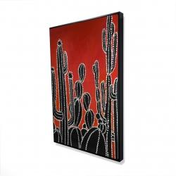 Framed 24 x 36 - 3D - Black tall cactus