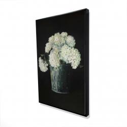 Framed 24 x 36 - 3D - White hydrangea flowers