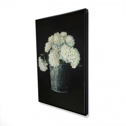 Framed 24 x 36 - 3D - White hydrangea flowers