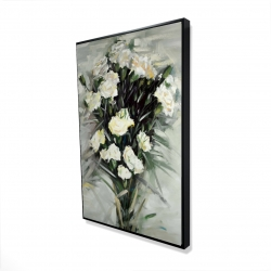 Framed 24 x 36 - 3D - Lisianthus white bouquet