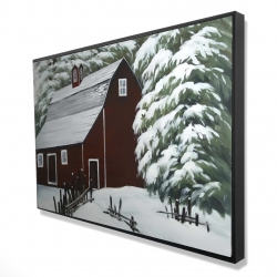 Framed 24 x 36 - 3D - Red barn in snow