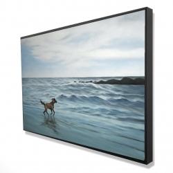 Framed 24 x 36 - 3D - Dog on the beach