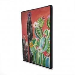 Framed 24 x 36 - 3D - Rainbow cactus