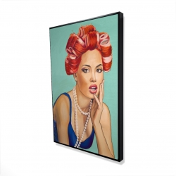 Framed 24 x 36 - 3D - Pin up girl with curlers